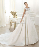 New arrival appliqued lace custom-made wholesale satin puffy ball gown cathedral train wedding gowns CWFaw3914