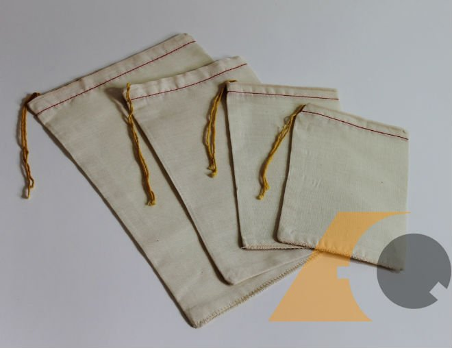 Unbleached OR Bleached Organic Cotton MUSLIN BAG - Drawstring Bag - ANY CUSTOM SIZE