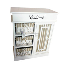 one door white 3 willow basket wicker chest of drawers design