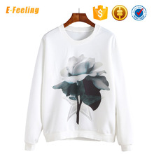 Printed Cotton Women Crew Neck Sweatshirt Without Hood
