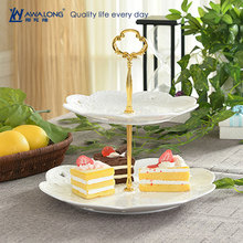 China Factory Hot Sale Afternoon Time porcelian Two layer Cake Plates