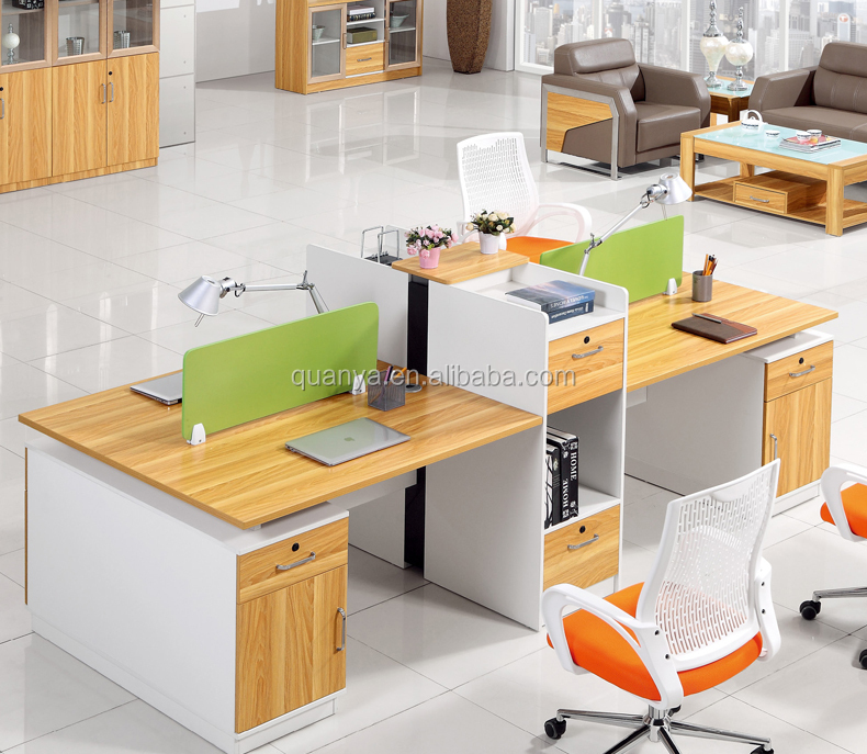 Modern office two side working table with screen wooden office table