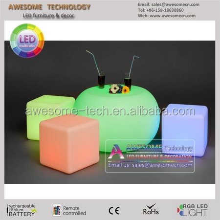 hot selling led color change round pouf