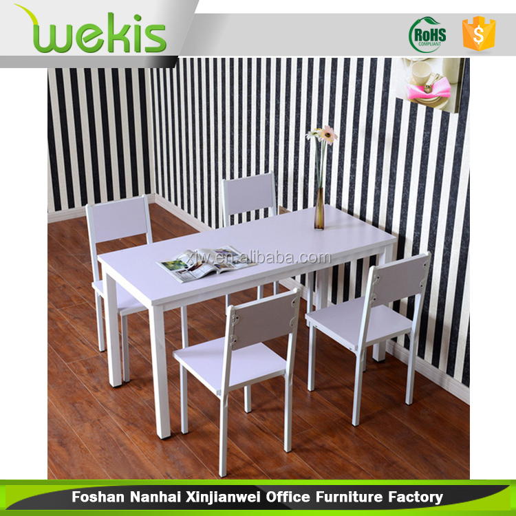 2015 Modern Restaurant Iron With MDF Top Dining Table And Chair