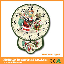 Christmas style design pendulum wall clock with mdf material