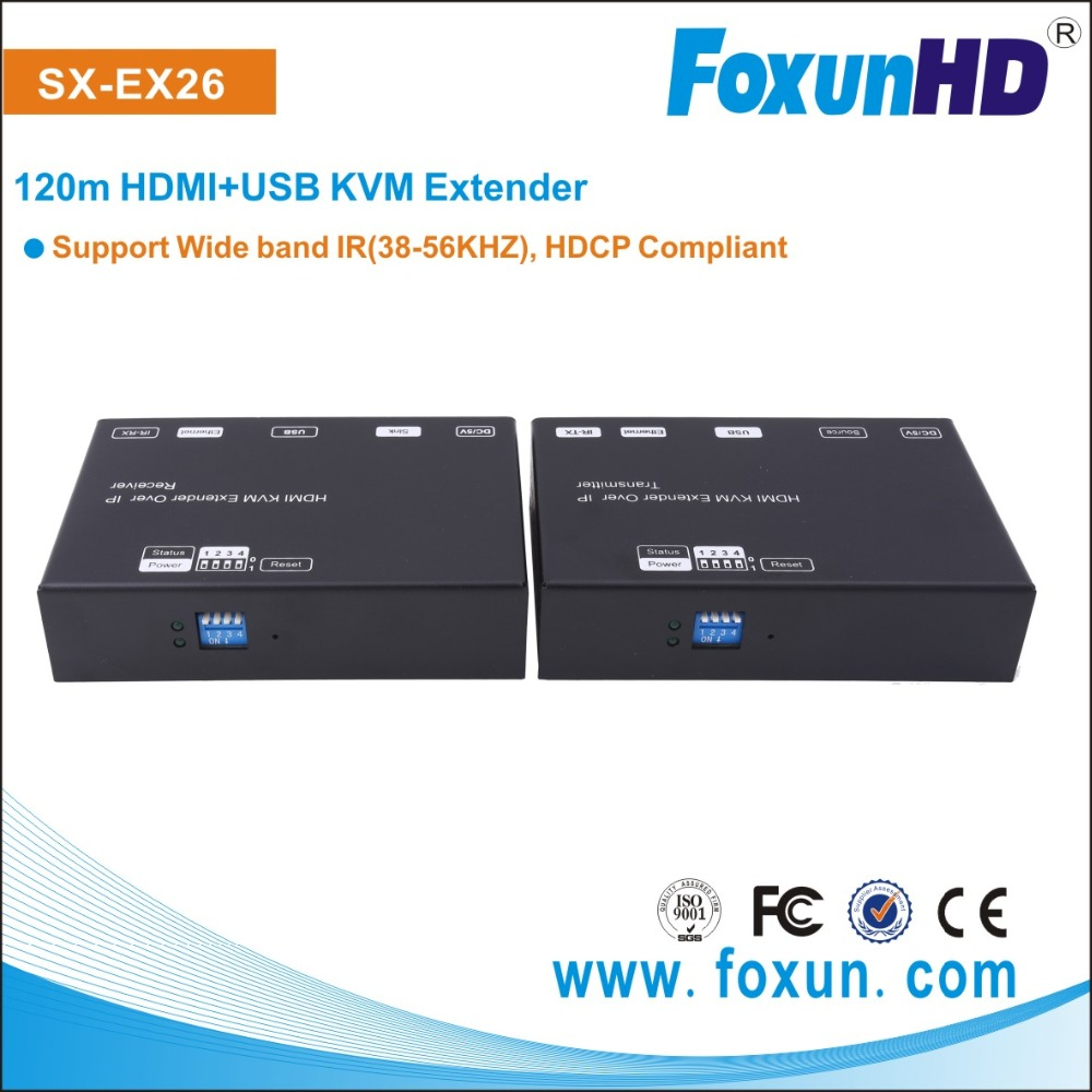 FOXUN/Shunxun SX-EX26 120M HDMI+USB KVM Extender over IP Transmitter/Receiver Support RS232/POE