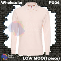 Wholesales P006 220G 100% cotton LOW MOQ Light Pink Long Sleeves Polo Shirt
