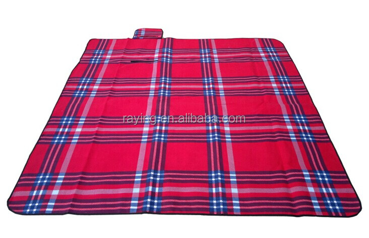 "Picnic Blanket, Red,blue and White Checkered, 51"" x 59"""