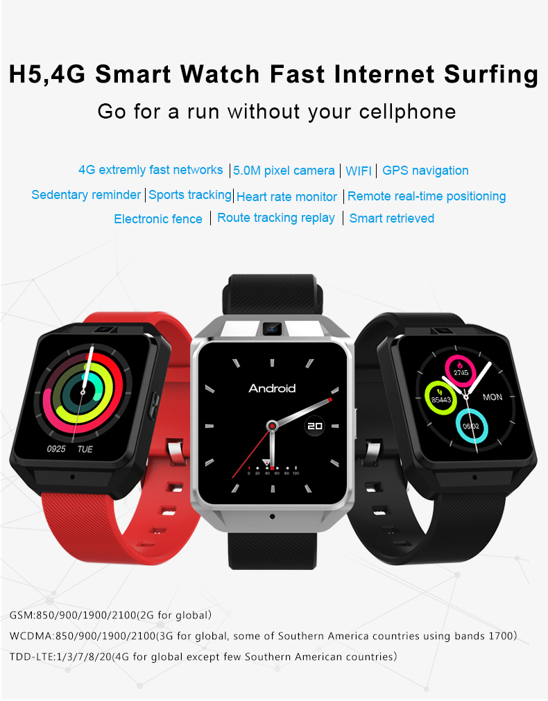 4G network HD VOICE H5  Smart watch phone 500w HD+ cameral android 6.0 smart watch