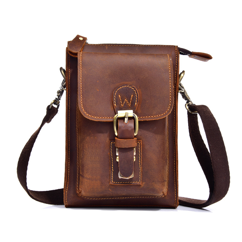 bb014 High Quality Crazy Horse Leather Men Cycling Travel Waist Bag