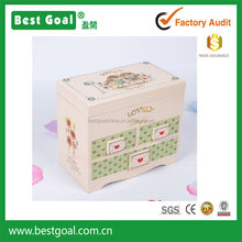 Wooden music box jewelry box make up box with mirror with 3 drawers