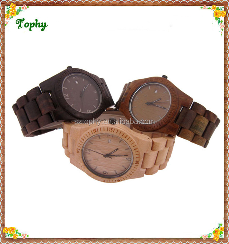 Fashion wood waterproof automatic branded watches for men Original Japan Quartz Wooden Watch Wholesale