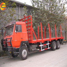Factory PriceTimber Transport Wagon Wood Lumber Log Loading Flatbed Semi Trailer with Steel Pipes