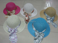 Fashion wide brim paper cloth hat, Paper summer beach hat wiht round crown