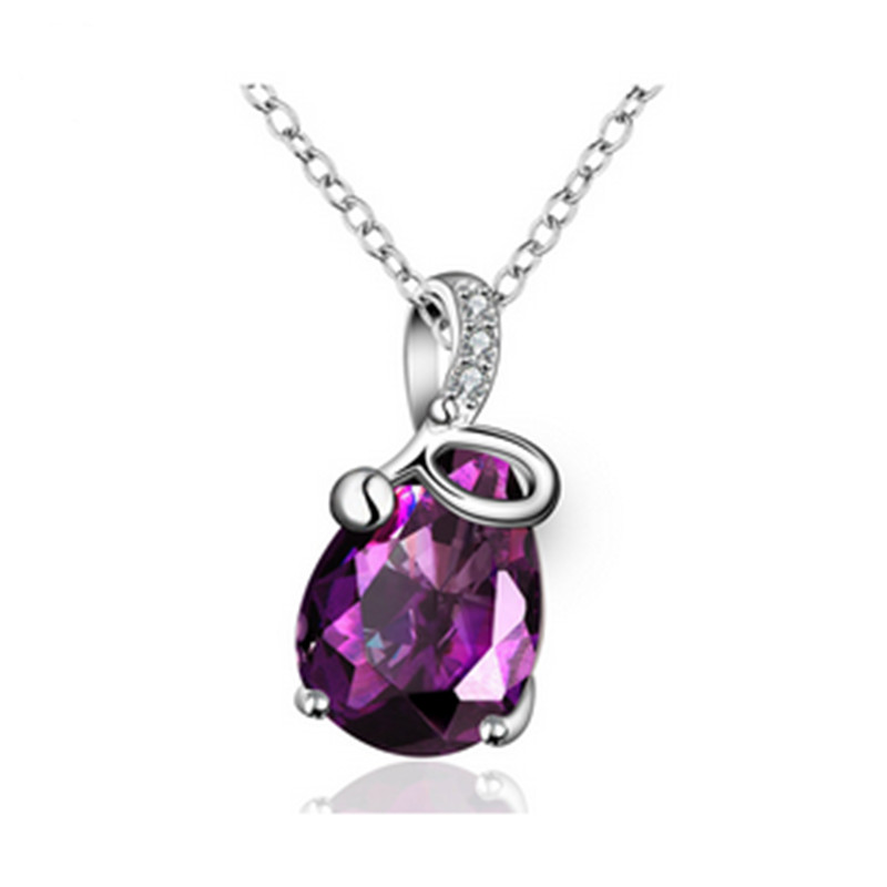 Fashion Silver Copper Crystal Necklace Zircon Pendant Necklace