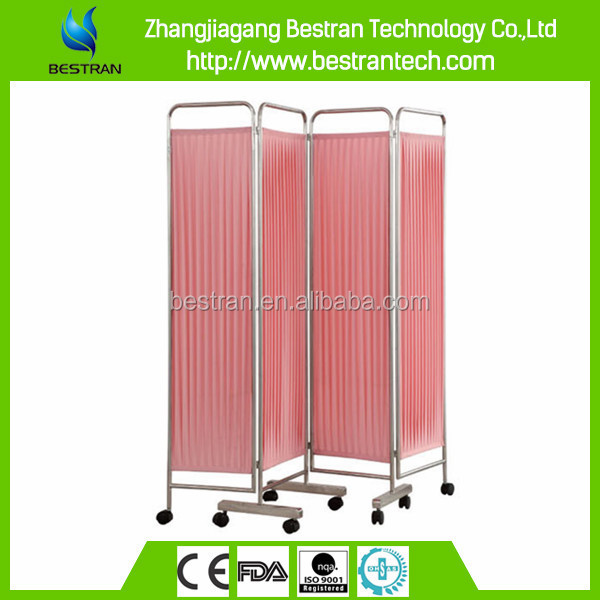 BT-CP001 HOT Sale stainless steel frame 4-folding privacy screen curtains with 8 wheels