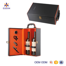 reasonable price PU leather two bottle wine case with top carrier and wine open accessories