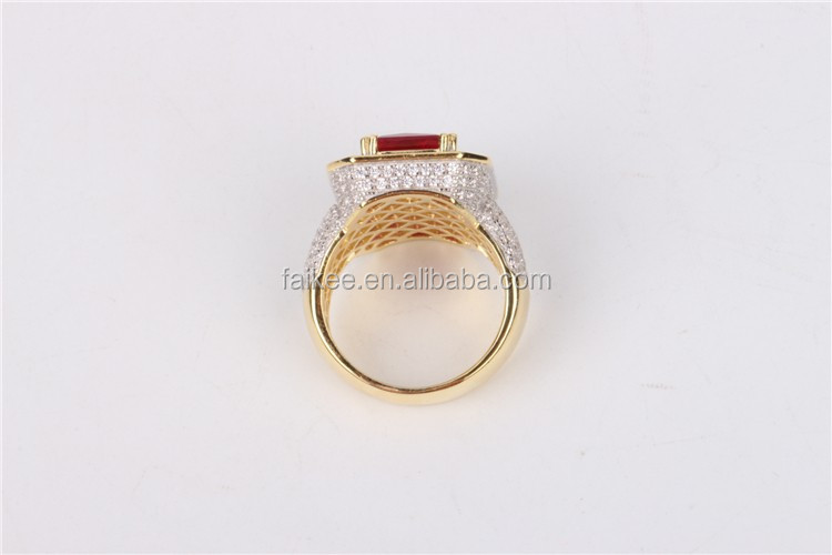 Factory price hip hop jewelry 925 silver CZ red ruby ring for men