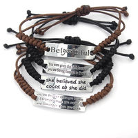 Wholesale Cheap Custom Engraved Braided Waxed Cotton Cord Bracelet ,Paracord Bracelet