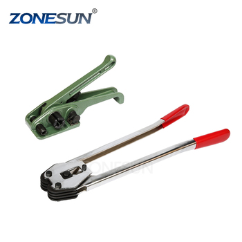 ZONESUN Steel plastic straps manual packaging tools dispenser sealer and tensioner set metal plastic straps tools supply