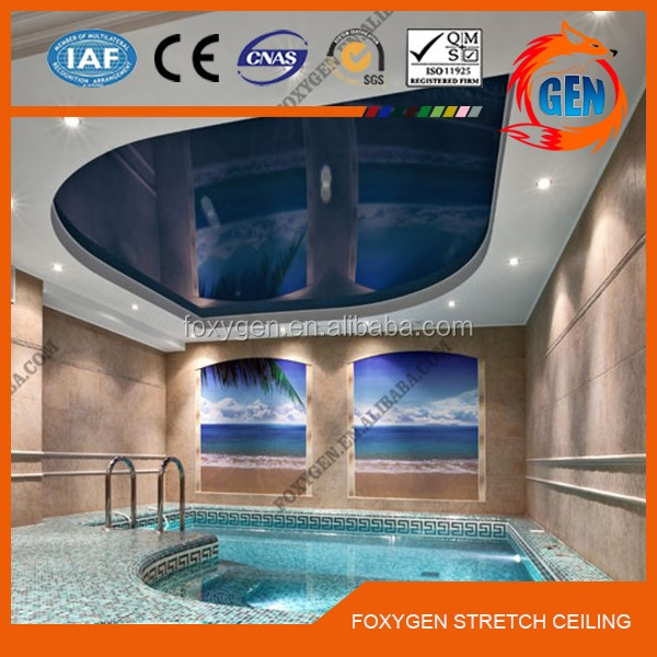 Project Suspended pvc stretch ceiling film with free sample with 15-year warranty for swimming pools