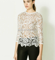 hot indian sexy photo image modern lace blouses with transparent sleeve/peplum top long sleeve