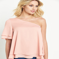 Top quality one shoulder ladies tops pink chiffon blouse woman summer wear