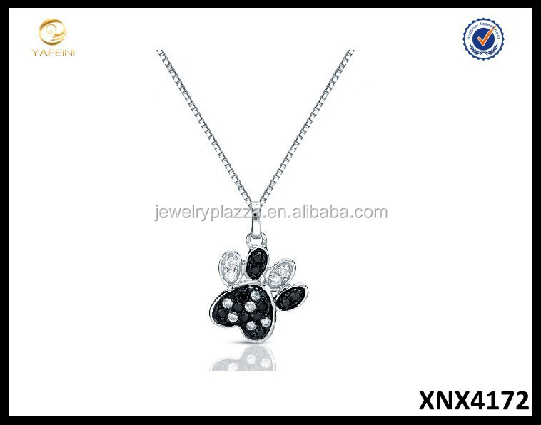Black and White Diamond Dog Paw Necklace Sterling Silver Jewelry Wholesale