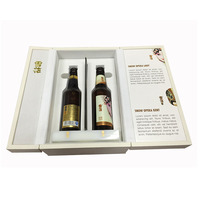 Expensive gold stamping logo 2 bottle fashion leather double door wine box for gift