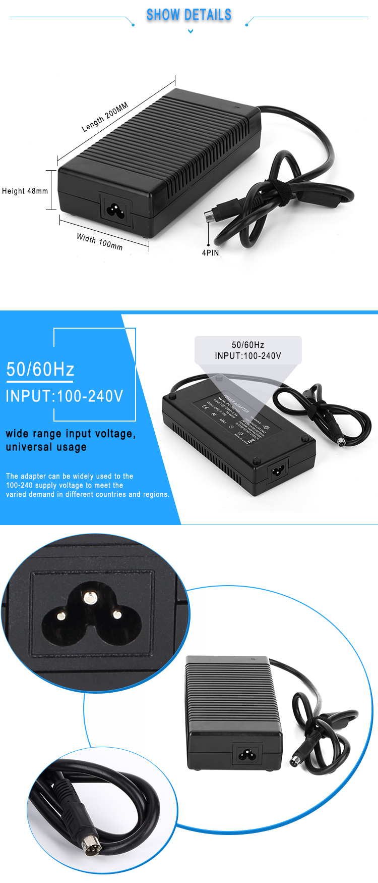 Plastic adapter 12v laptop power supply 250w