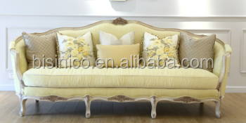 Vintage Elegant French Wooden Frame Reliner Sofa / Antique Living Room Furniture Vivid Carving Fabric Sofa Set