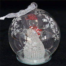 New design hanging christmas ornament, decoration and gift, 100mm clear glass covered snowman, color change LED lights