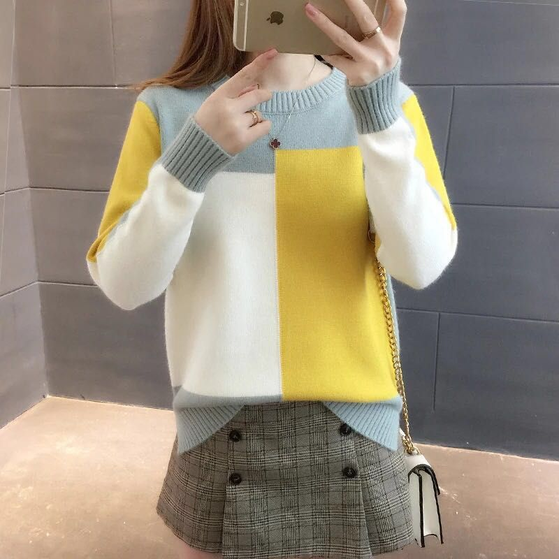 Wholesale korean style round neck patchwork girls slim fit winter warm sweater