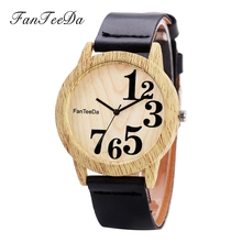 FanTeeDa Luxury Brand Leather Strap Quartz Women Wristwatch Watch Fashion Wood Ladies Bracelet Watch Number Sport Watch