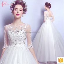 2017 New Crystal Beaded Ball Gown Lace Wedding Dress with Train
