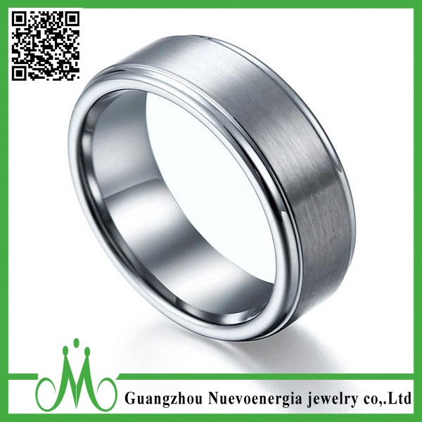 Trendy Tungsten Ring Silver Brushed Domed Men's Jewelry Wedding Band
