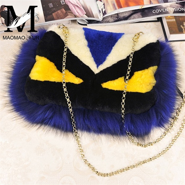 2016 Top Fashion and Luxury Real Sheep Skin Fur Bag / Lady Monster Fur Bag