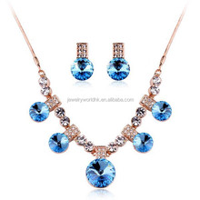 Alloy with gold plated jewelry set,blue gemstone alloy with gold plated jewelry set