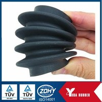 custom rubber bellows/ Silicone rubber bellow/ Customized black flexible silicone molded rubber bellow