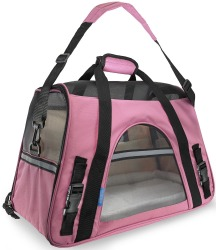 Pet carrier soft sided large cat bag pet dog sling carrier with fleece travel bed