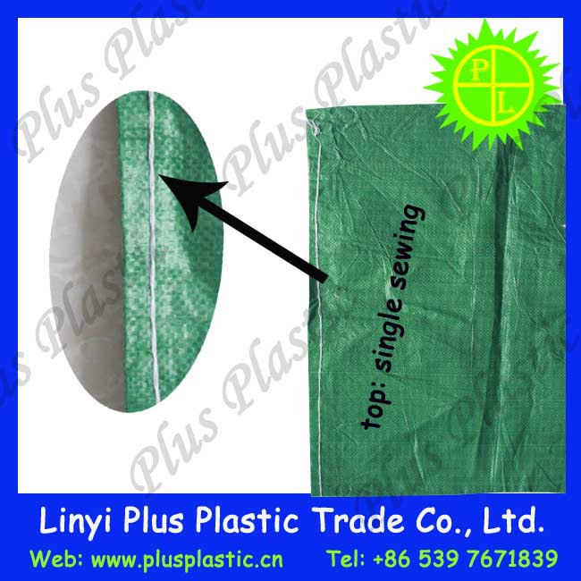 Green color pp woven bag packing seed, feed, poly feed sacks made in china