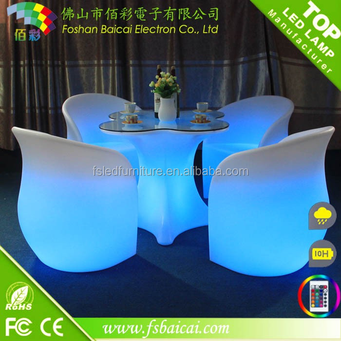 On sale 4 wheels Folding bar counter with RGB LED light fancy restaurant bar counter table and chair