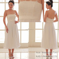 Simple clear white emboridery backless ankle-length short skirt gown wedding dress