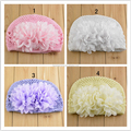 Wholesale Double Flower Chiffon flower children hat lvkong Cotton Knitted Baby Baby Hat Cap