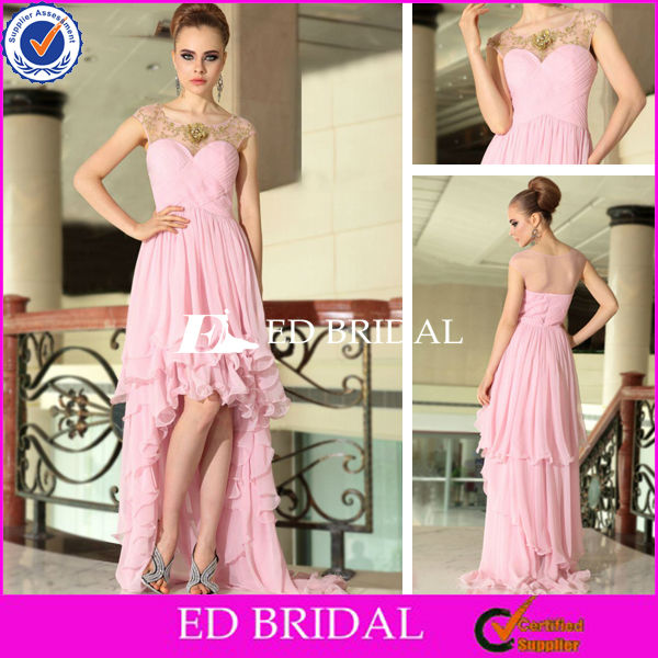 BY1101 New Style Cap Sleeve Pink Short Front Long Back Prom Dress 2013