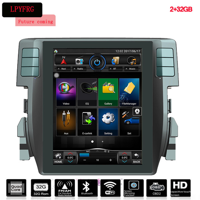 OEM Android 12.1 INCH Car DVD Player For Honda Civic New 2015 - 2017 With GPS Video Wifi Navigation System Dics Playing