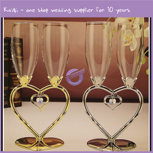 K7727 Fancy wedding favors heart shape stem bright crystal wine glass