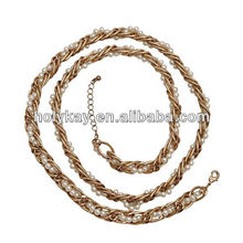 2013 fashion costume jewelry, newest designs gold chain and small white pearl mixed necklace