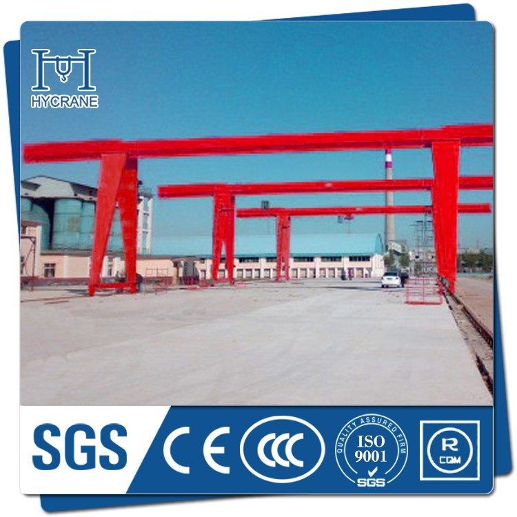 Gantry crane with rail and cable
