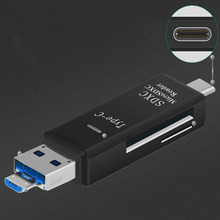 Direct manufacturer Multifunction USB 3.0 TF SD Type C OTG Smart Card Reader for Smartphone and Computer with Guide light CA5843